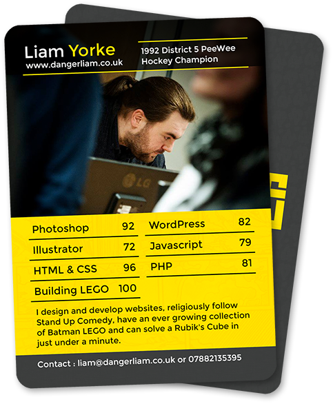 Mock up of my business card, in the style of a top trumps card