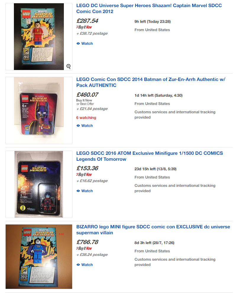 Listing of minifigures being sold on eBay