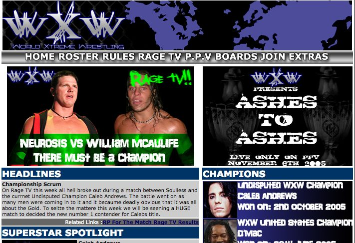 wXw website screenshot